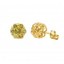 Diamond Clusters 14K Yellow Diamond Stud Earrings 1ct