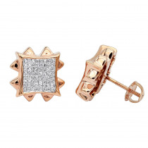 Diamond Earrings Rose Gold Diamond Stud Earrings 1.66ct