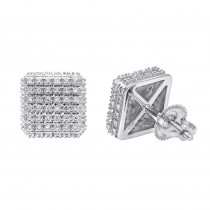 Pave Diamond Stud Earrings Under 300 - 10K Gold Square Studs 0.33ct