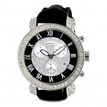 6.5 Carats G VS Diamonds Swiss Made Mens Diamond Watch Benny and Co 44mm Case Black Dial