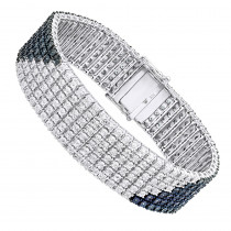 Hip Hop Jewelry: White Blue Diamond Bracelet for Men 1.23ct Silver