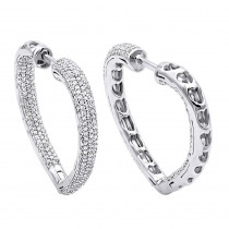 Inside Out Diamond Heart Earrings 1.35ct 14K Gold Hoops