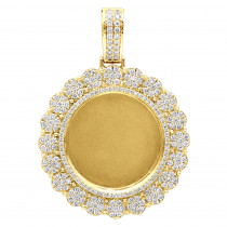 14K Gold Customizable Picture Frame Diamond Medallion Pendant 2.5Ct