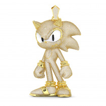 Custom Jewelry Real 14k Gold Sonic The Hedgehog Diamond Pendant for Men 22c