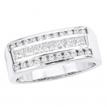 VS Round & Princess Cut Diamond Wedding Ring for Men 14k Gold Anniversary Band 1.5ct