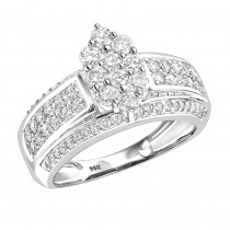 Ladies Diamond Rings 14K Cluster Diamond Ring 1.55ct