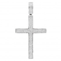 Large Mens Sterling Silver Diamond Cross Pendant 1.31ct