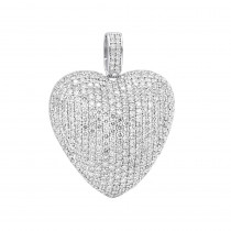 Large Pave Diamond Heart Pendant 10ct 14K Gold
