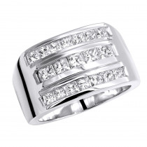 Men's Diamond Ring 18K Gold 2.62ct Princess Cut Diamonds