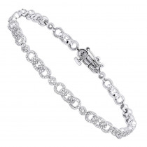 Pave Bracelets 14K Gold Ladies Diamond Bracelet 1.47ct