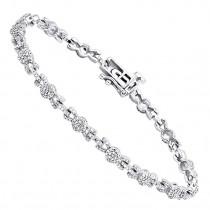 Pave Bracelets 14K Gold Ladies Diamond Bracelet 1.50ct