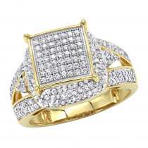 Affordable Pave Diamond Engagement Ring 14K Gold 0.75ct