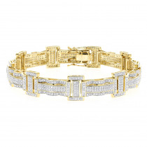 Pave Real Diamond Bracelet for Men 10K Gold 3.18ct