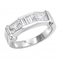 Platinum Diamond Men's Wedding Ring 0.62ct