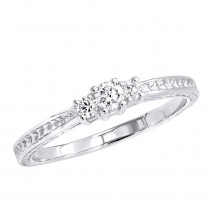 Affordable Platinum Diamond Three Stones Engagement Ring Vintage Style 0.29ct