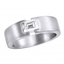 Platinum Emerald Cut Diamond Men's Wedding Ring 0.25ct