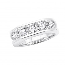 5 Stone Platinum Mens Diamond Wedding Ring 2.45ct VS Anniversary Band
