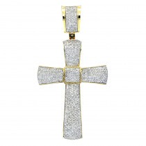 Puffed Gold Diamond Cross Pendant 3.25ct 10K Gold
