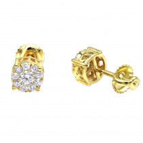 Round Cluster Diamond Earrings Studs 0.75ct 14K Gold