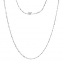 Round Diamond Tennis Necklace Mens Chain 14K Gold 32 in 14.06ct
