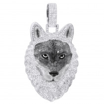 Unique Custom Jewelry: Diamond Wolf Pendant for Men in 10k Gold w Enamel 2ct Iced Out Design