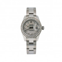 Womens Diamond Rolex Watch Datejust 26mm Steel Case Diamond Bezel Silver Dial 0.9ct