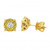 Yellow Sapphires and White Diamond Stud Earrings 1.05ct 18K Gold