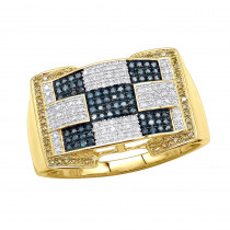 Unique White Blue Yellow Diamond Ring for Men in 10K Gold 0.97ct