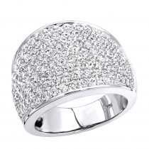 Womens 14K Gold Pave Diamond Fashion Ring 3.6ct Wedding Band