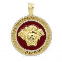 10k Gold Red Enamel Medusa Head Pendant Versace Style Diamond Medallion