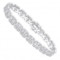 14k Gold Baguette and Round Diamond Tennis Bracelet for Men & Women 14CT