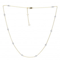 14k Gold Diamonds By the Yard Station Necklace for Women 0.5 Adjustable