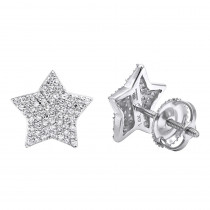 14k Gold Fully Iced Out Pave Diamond Star Earrings Studs 0.25CT by Luxurman