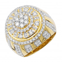 14k Gold Large Dome Shaped Mens Diamond Statement Ring 3D Design 3.5ct