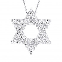 14k Gold Pave Diamond Star of David Necklace Jewish Pendant w Chain 0.65ct
