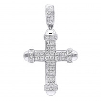 14k Gold Real Diamond Cross Pendant For Men & Women 0.35ct Bottony Trefly