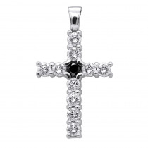 14K Gold White And Black Diamond Cross Pendant for Men & Women 1.33ct