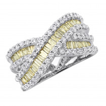 14K Gold White Yellow Diamond Statement Criss Cross Ring for Women 2 Carats