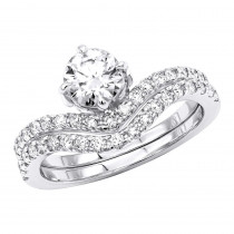 1.6 Carat Diamond Engagement Ring Set in 18K Gold Designer Bridal Rings
