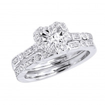 18k Gold Affordable Heart Shape Diamond Engagement Ring Set with Band 0.45CT