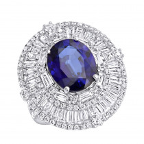 18K Gold Unique Blue Sapphire And Diamonds Cocktail Ring for Women 7.87Ct