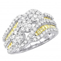 2 Carat Cluster White & Yellow Diamond Cocktail Ring For Women in 14k Gold
