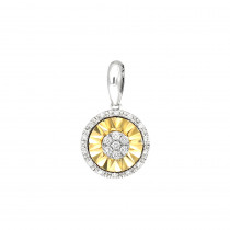 2 Carat Solitaire Look Halo Diamond Two Tone Pendant For Women in 14K Gold