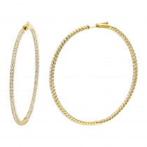 2.5 Inch Inside Out Diamond Hoop Earrings for Women 5 Carat VS Diamonds 14K Gold