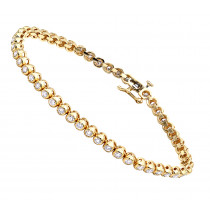 3 Carat Modern Bezel Set Round Cut Diamond Tennis Bracelet in 14K Gold