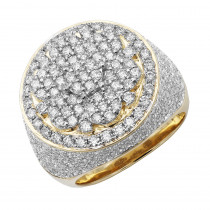 5 Carat Round Diamond Cluster Ring for Men in Solid 14k Gold