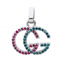 Affordable Blue Diamonds & Pink Sapphires Ladies Initials Pendant 0.4ct 14K gold