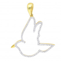 Allure Large Size Diamond Dove Charm Pendant 0.3CT in 14K Gold by Luxurman