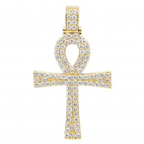 Egyptian Ankh Cross Diamond Pendant for Men in 14K Gold G VS
