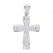 Double Layer Real 14k Gold Pave Diamond Cross Pendant For Men & Women 0.75c